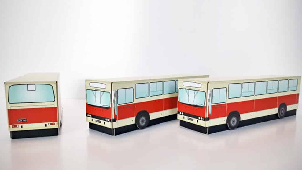 Pudełka kartonowe autobusy miejskie.