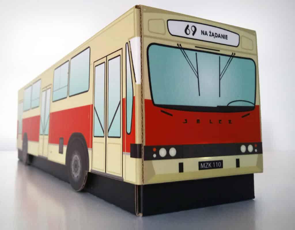Karton - opakowanie w kształcie autobusu Jelcz 110