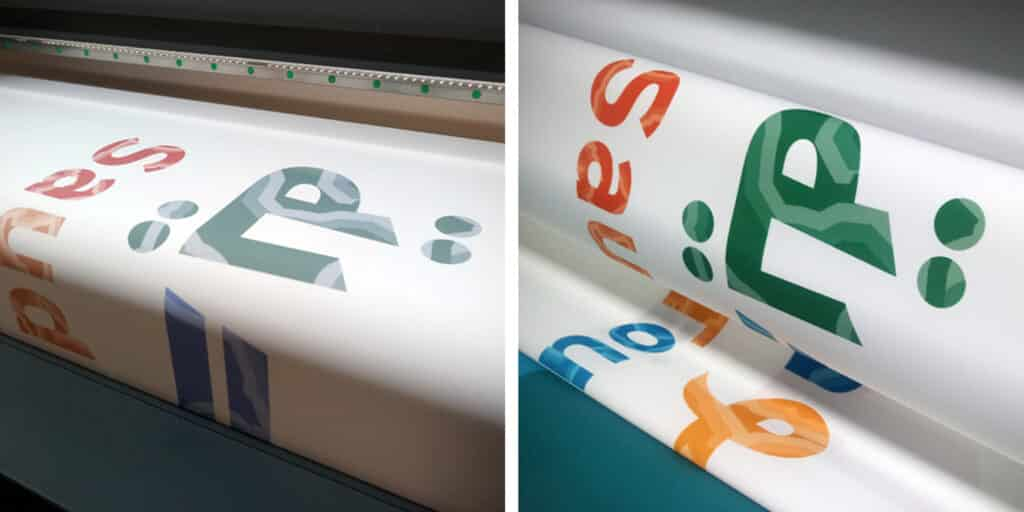 Wydruk sublimacyjny na tkaninie. Przed i po wygrzaniu.