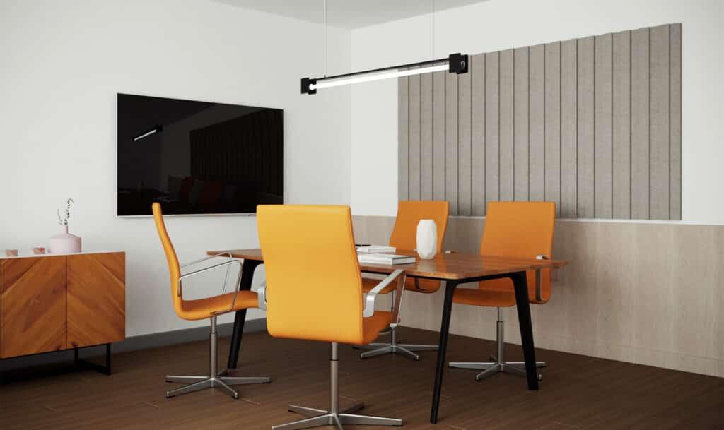 Zastosowanie panelu akustycznego PET w biurze.