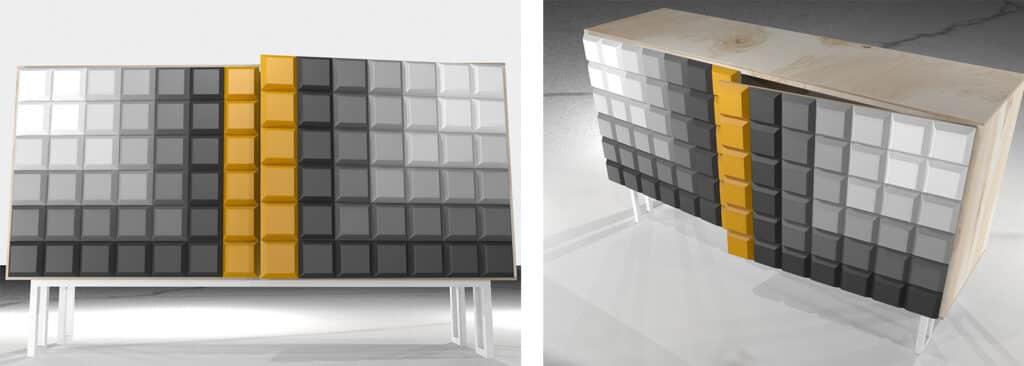 Komoda ze sklejki. Drzwi oklejone panelem akustycznym PET dociętym do kształtu tabliczki czekolady.