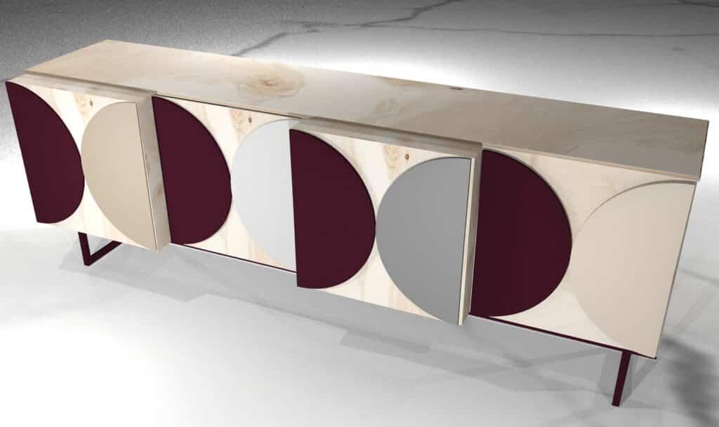 Projekt komody ze sklejki. Panele akustyczne PET jako ozdobny ornament frontu.